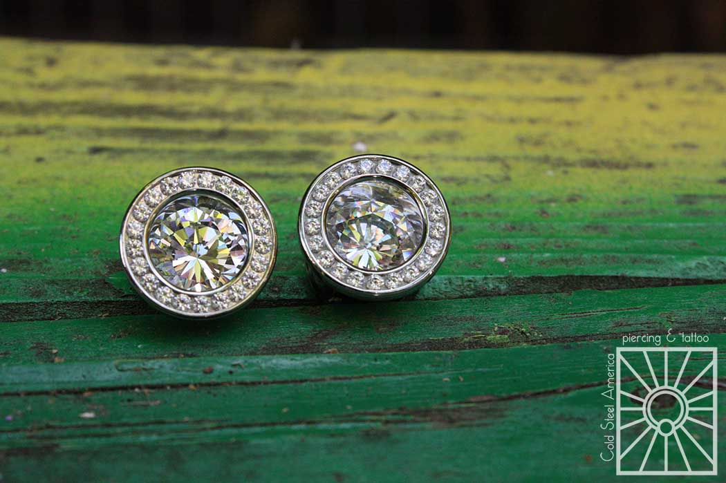 """Implant-grade steel and cubic zirconia """"Super Bling"""" eyelets from Anatometal."""