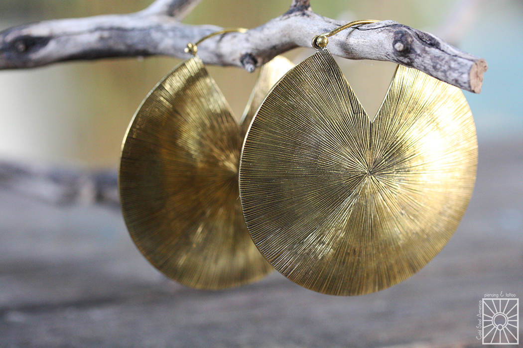 """Big beautiful """"Glamazon"""" hoops in brass from Buddha Jewelry Organics! These gorgeous pieces are bound to make a statement with any outfit, and there's no need to have stretched lobes to wear them!"""