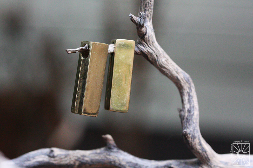 """Small Brass """"Rectangle"""" weights from Buddha Jewelry Organics. These little cuties make such a simple but fun addition to any collection, and they're so comfy to wear!"""