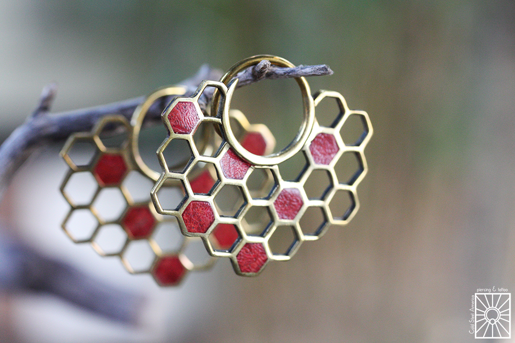 """The """"Buzz"""" hoops from Buddha Jewelry Organics have been such a hit that we decided to pick up a set of the inlay version as well as the simpler all brass set. These beauties here feature genuine Coral inlay, and are sure to add a fun pop of color to any outfit!"""