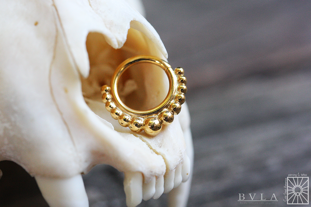 """Absolutely gorgeous solid 22k yellow gold """"Graduated Latchmi"""" continuous ring from Body Vision Los Angeles."""