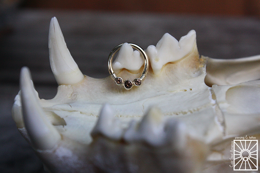 """16g (1.2mm) solid 14 karat Yellow Gold """"Faraway"""" continuous ring with genuine Smokey Quartz from Body Vision Los Angeles."""