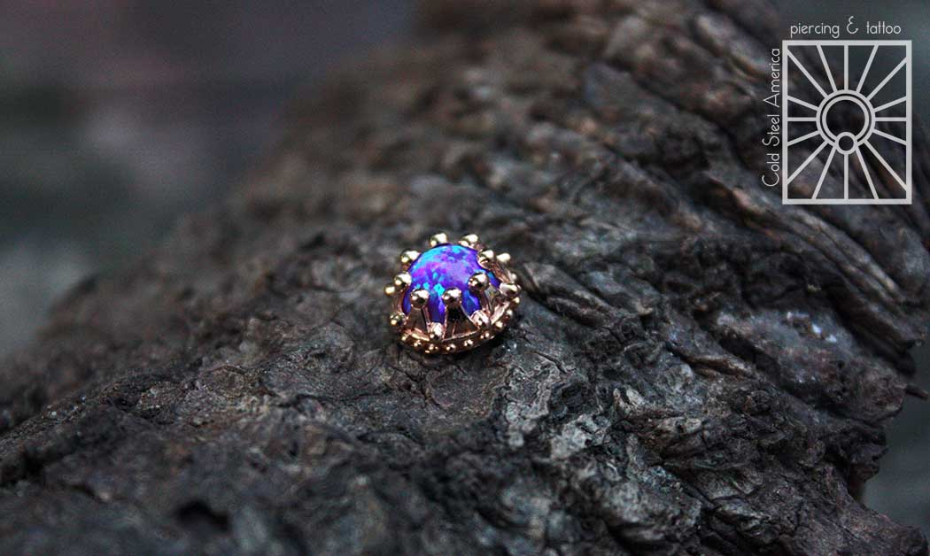 8mm solid Rose Gold crown-set synthetic Purple Opal threaded end for our own Danny.