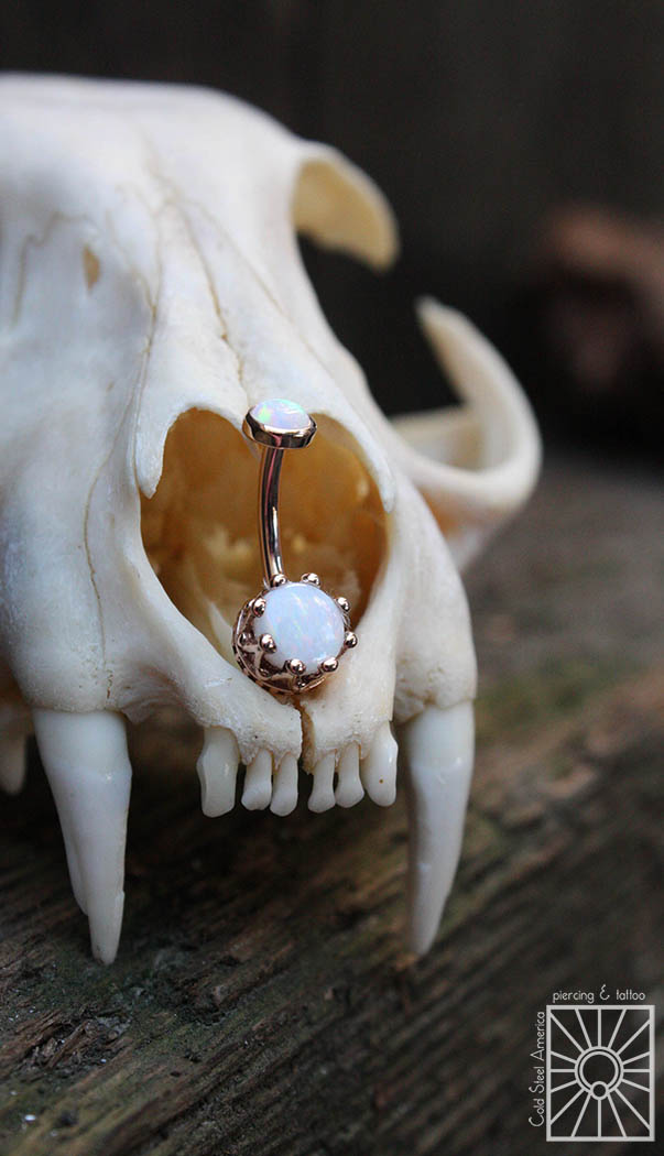 Solid Rose Gold navel curve from Body Vision Los Angeles featuring bezel and prong-set synthetic White Opal.