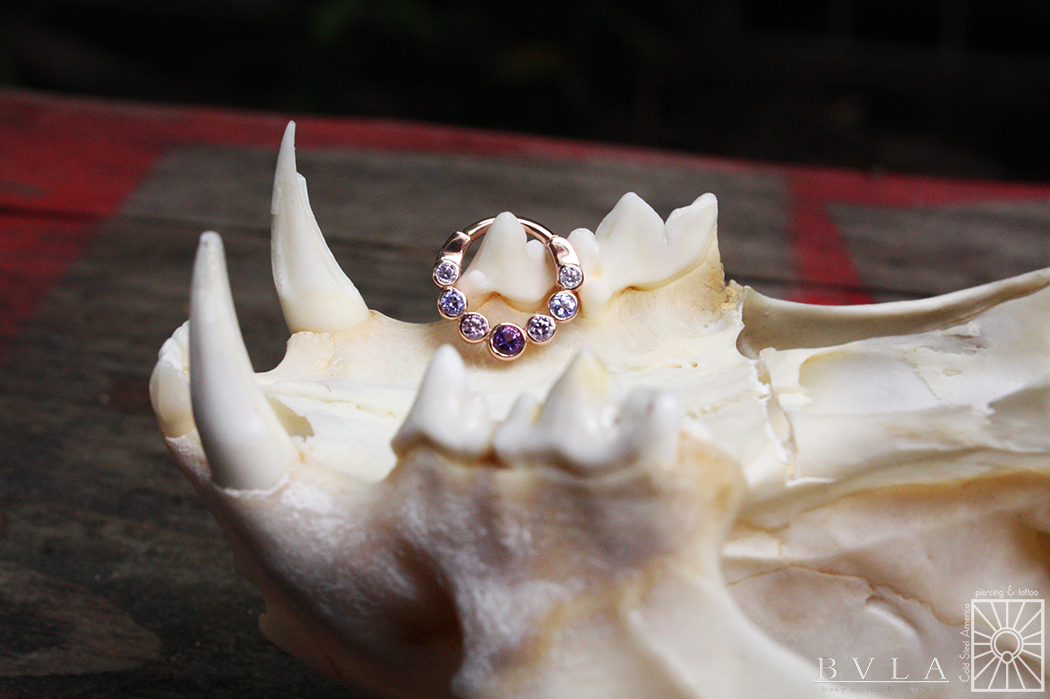 """Solid Rose Gold """"Lynx"""" hinged ring featuring genuine Amethyst, Tanzanite, and Lavender cz's from Body Vision Los Angeles."""
