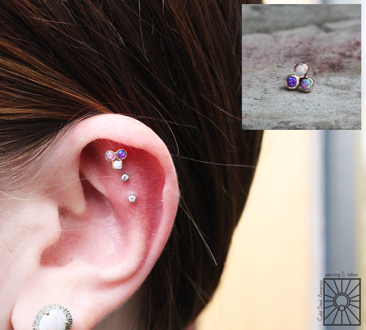 """We really love when clients are as excited about amazing jewelry as we are, and this fantastic lady is definitely one of those clients! She picked up this custom piece today, solid 14 karat Rose Gold """"trinity cab cluster"""" threadless end with synthetic White, Lavender, and Purple opals from Body Vision Los Angeles. So flipping adorable!"""