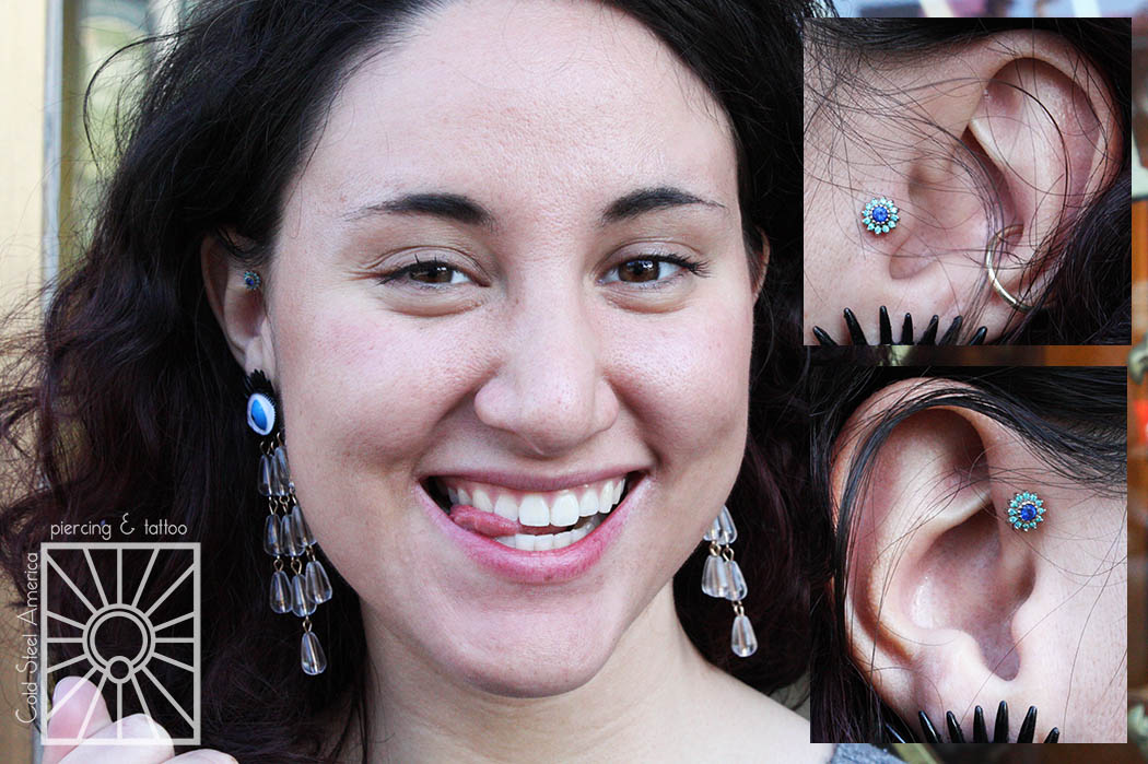 """Matchy matchy! we did not do this lovely young lady's piercings, but we did get to install these beautiful solid Yellow Gold """"Rose"""" pieces from Body Vision Los Angeles."""