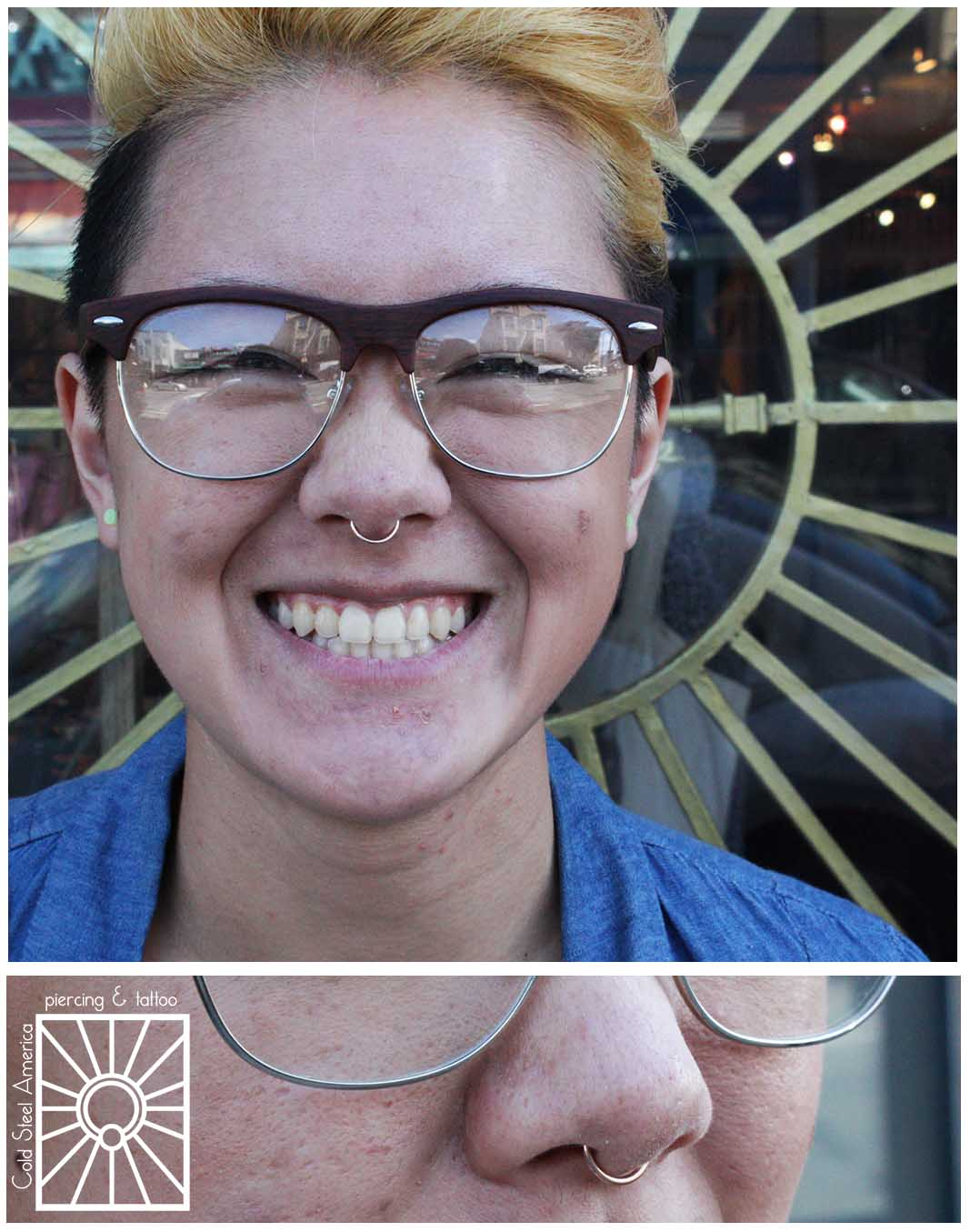 So this sassy young lady got her septum pierced a few months ago by our wonderful friend Perry Doig at Rose Gold's, and today we got to snazz it up with this cute little Rose Gold continuous ring from Body Vision Los Angeles! Cute cute cute!