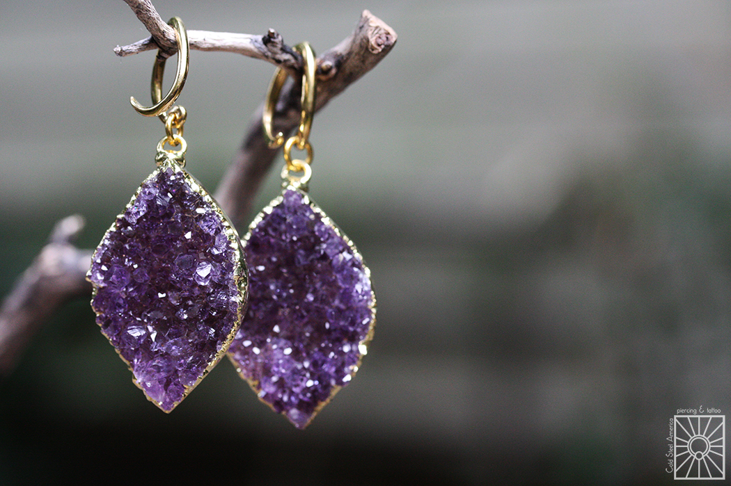 Brass and gold dipped Amethyst druzy weights from Diablo Organics.