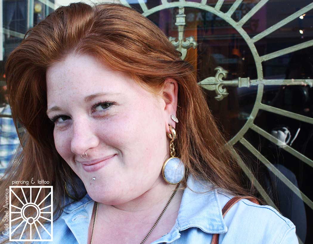 This fantastic young lady came in yesterday to finally pick up a set of the amazing stone and brass weights from Diablo Organics she had been eyeing, and we decided that these Blue Calcite beauties would look perfect against her red hair. We live for making jewelry love connections!