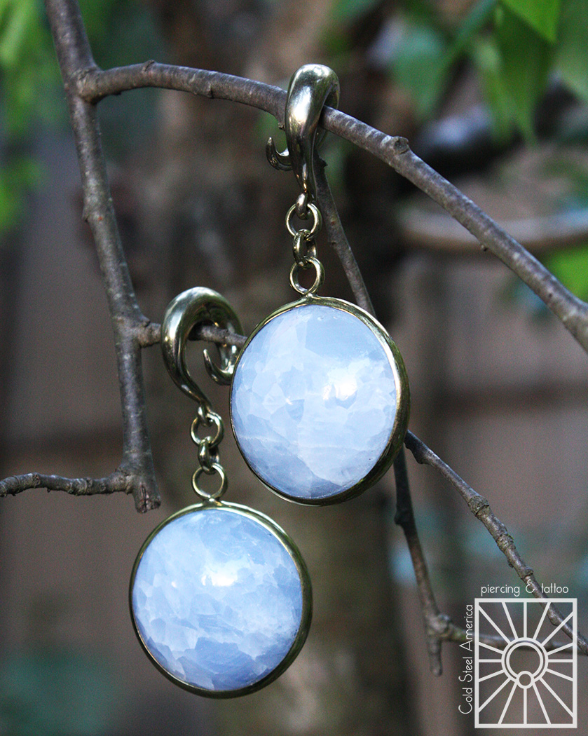 Brass and Blue Calcite weights from Diablo Organics.