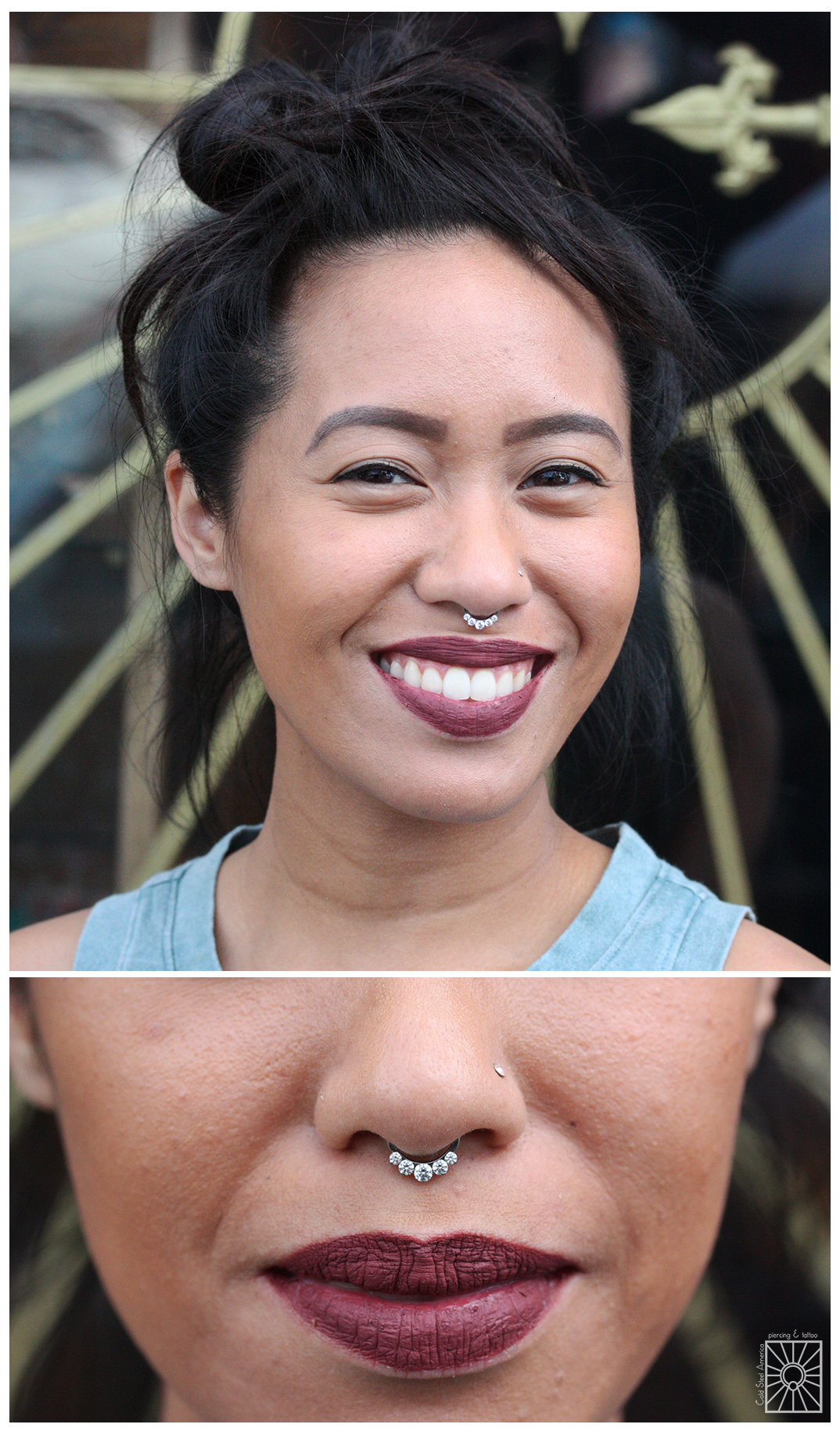Our fantastic friend Perry at Rose Gold's pierced this beautiful young lady's septum a while ago, and she paid us a visit yesterday to pick up one of these fun titanium clicker pieces from Industrial Strength! Doesn't it just look perfect on her?