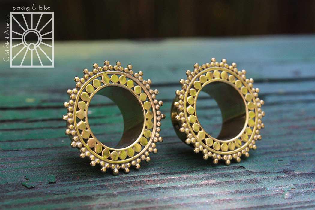 "Plated Yellow Gold ""Afghan"" eyelets from Tawapa."