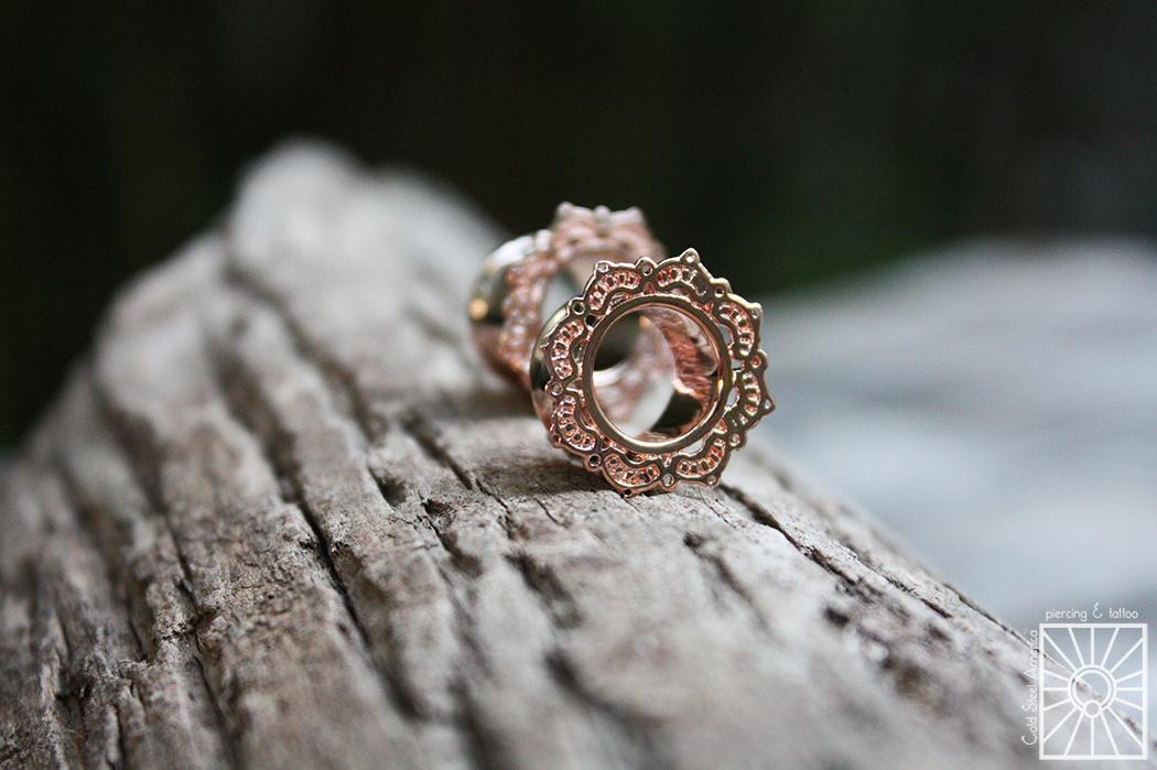 """Plated Rose Gold """"Lotus Drop"""" eyelets from Tawapa."""