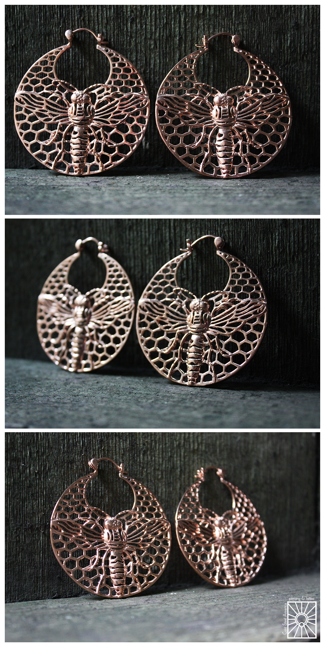 """Plated Rose Gold """"Bee Hoops"""" from Tawapa! These beauties are sure to cause a buzz everywhere they go, and there's no need to have stretched lobes to wear them!"""