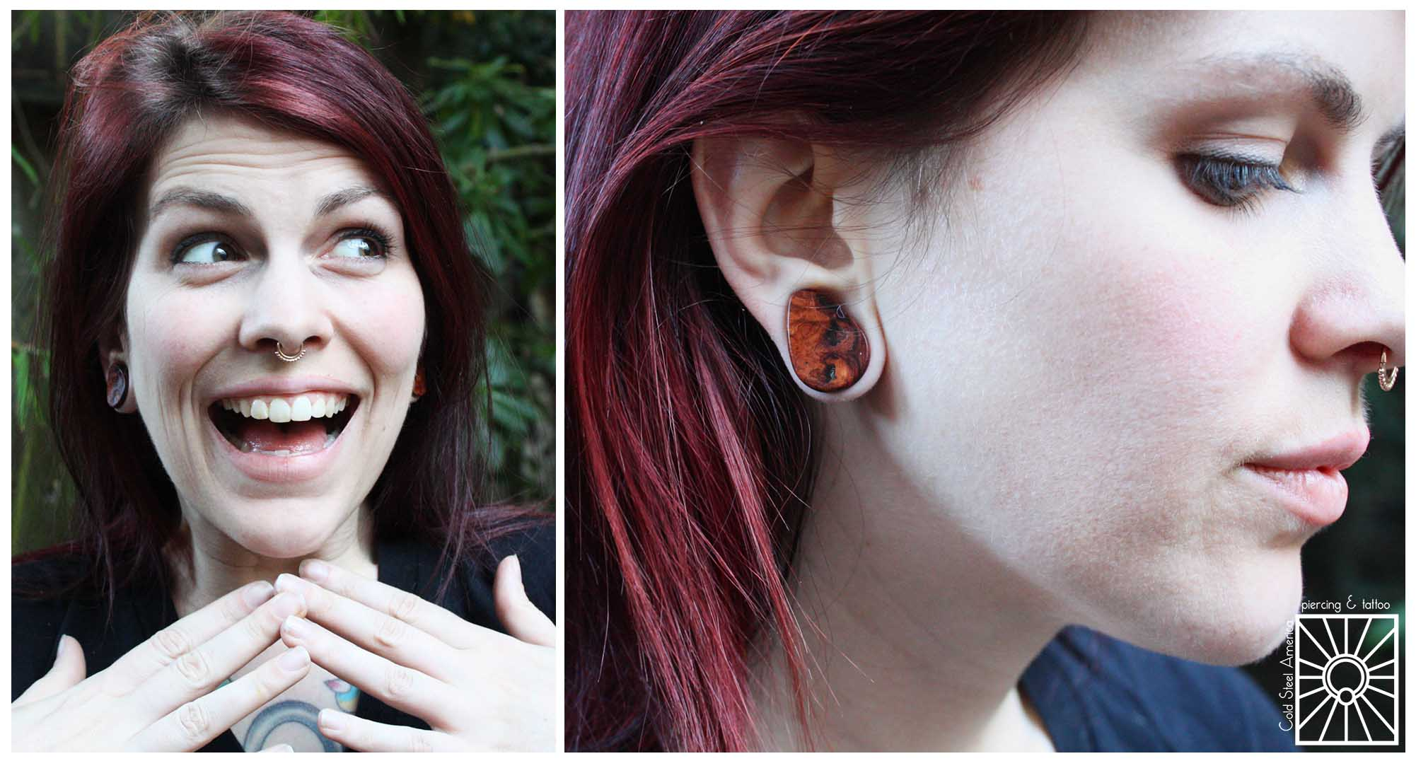 """Our wonderful friend Kate came in to pick up some more fantastic jewelry for her collection! She chose these gorgeous 3/4""""Amboyna Burl teardrop plugs from Omerica Organic, and they look so good on her. Also notice the cute little Rose Gold """"Latchmi"""" ring from Body Vision Los Angeles in her septum!"""