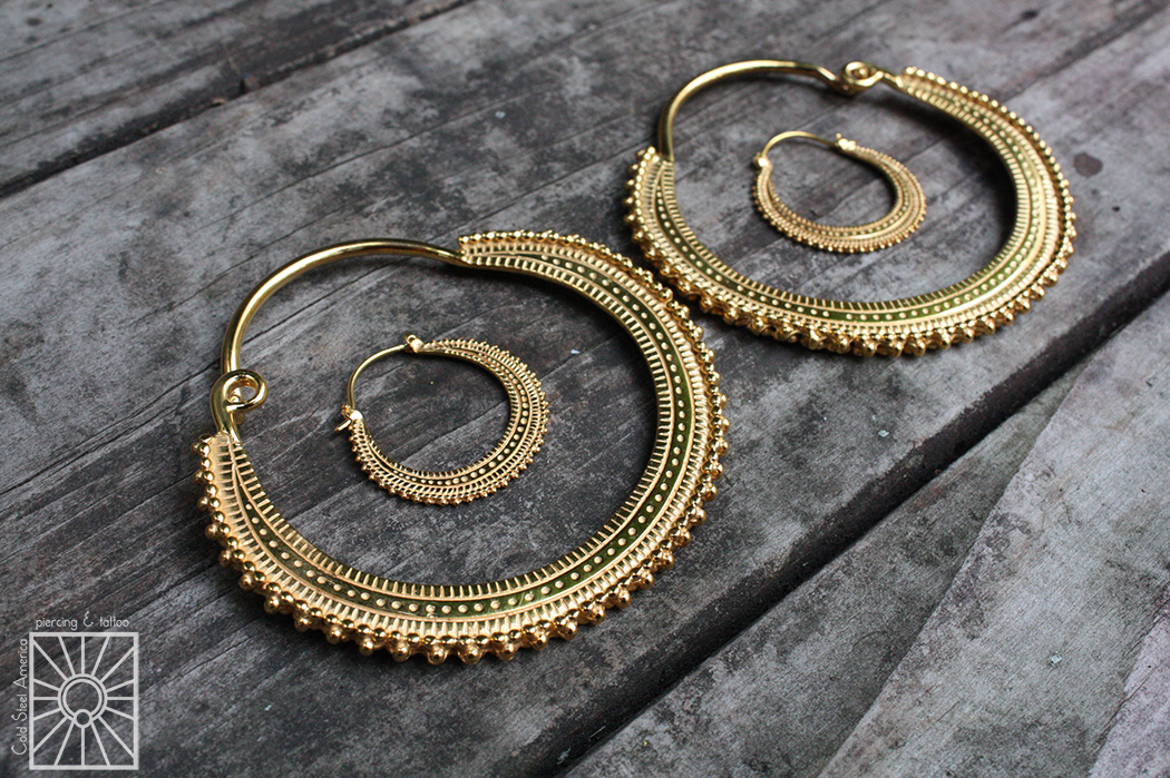 """Beauty comes in all sizes.  """"Afghan Hoops"""" in plated Yellow Gold, for stretched and non-stretched lobes, from Maya Jewelry."""