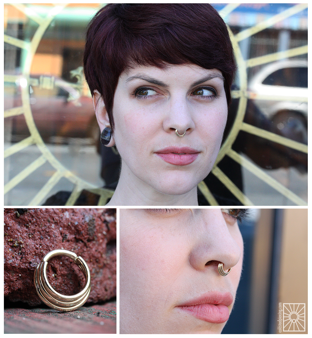 """Our wonderful friend Kate has such a fantastic collection of jewelry, and her newest addition is this beautiful solid 14k Yellow Gold """"Minimoody"""" hinged ring from Body Vision Los Angeles. She has been lusting after this piece for a few years now, and we are so excited to help her finally pick one up!"""