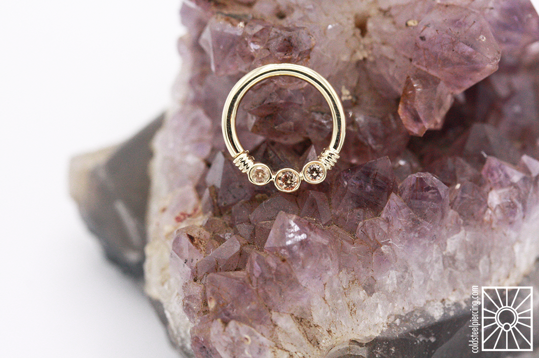 """Solid 14k Yellow Gold """"Farway"""" continuous ring with genuine Champagne Sapphires from Body Vision Los Angeles."""