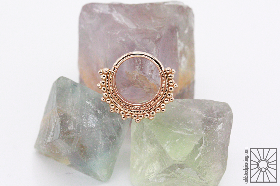 """14k Rose Gold """"Afghan"""" continuous ring from Body Vision Los Angeles."""