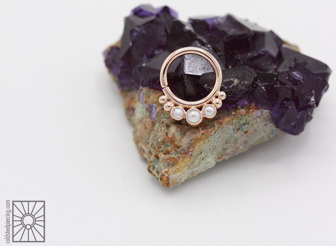 """14k Rose Gold """"Barra"""" continuous ring with genuine Pearls from Body Vision Los Angeles."""
