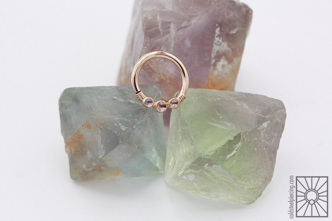 """14k Rose Gold """"Faraway"""" continuous ring with genuine Rainbow Moonstone from Body Vision Los Angeles."""