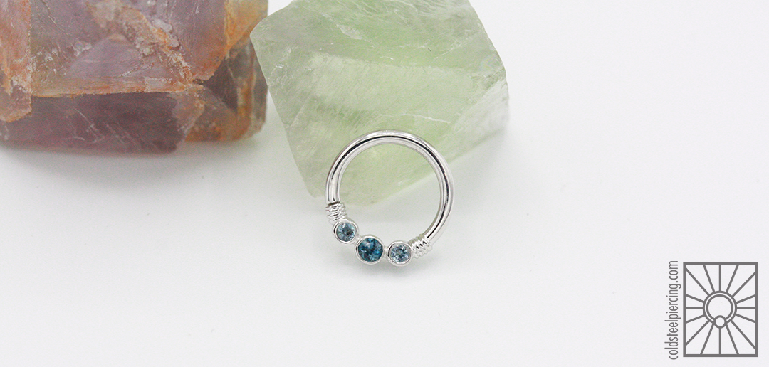 """14k White Gold """"Faraway"""" continuous ring with Genuine London Blue Topaz and Aquamarine from Body Vision Los Angeles."""