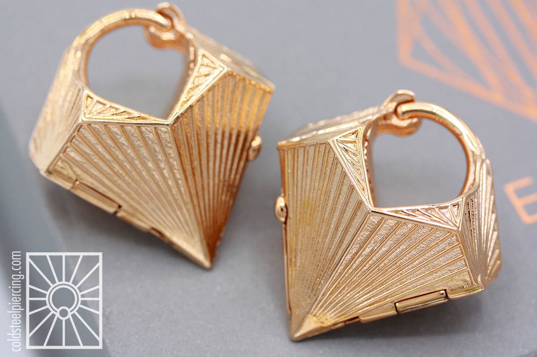 """Gorgeous 10g plated Rose Gold """"Tetra"""" press-fit weights from Tether Jewelry."""