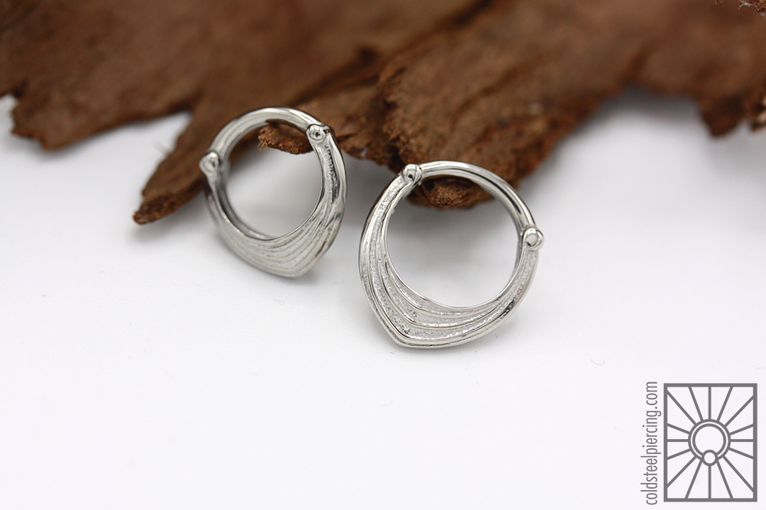 """316L steel """"Drake Cuff"""" hinged rings from Tether Jewelry."""