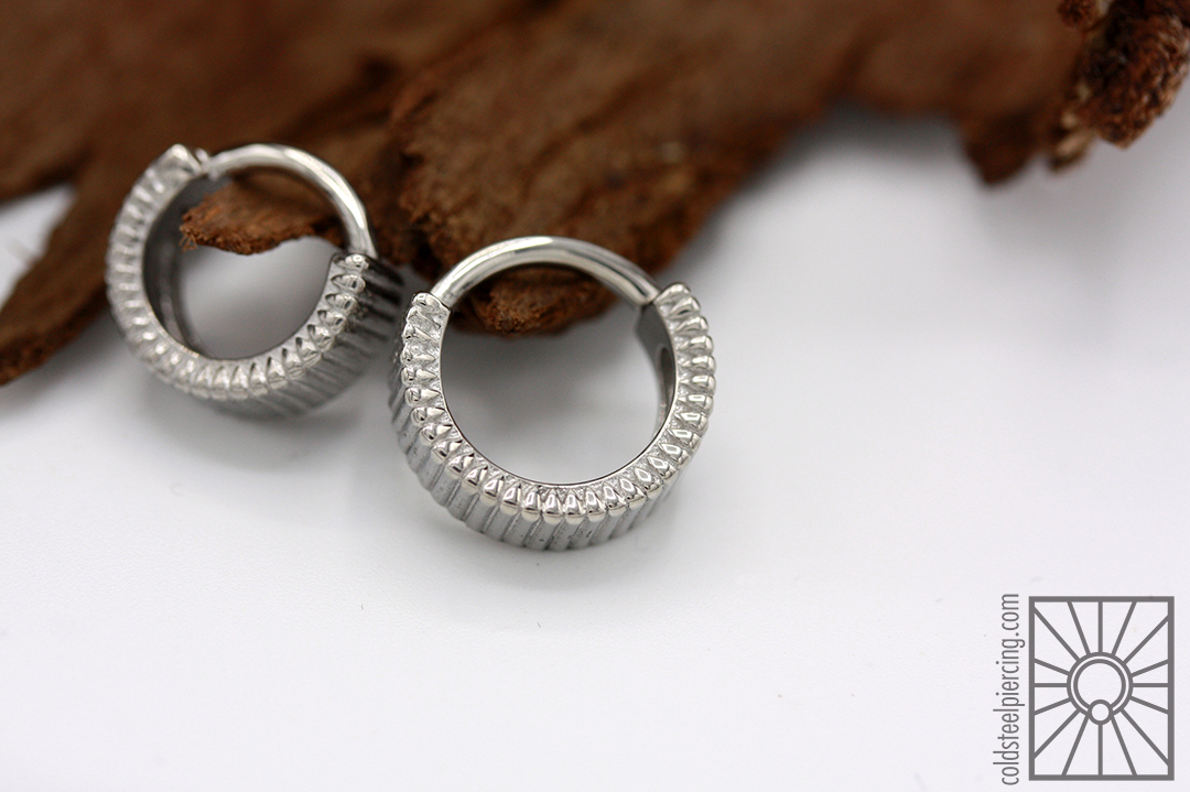 """316L steel """"Eclipso"""" hinged rings from Tether Jewelry."""
