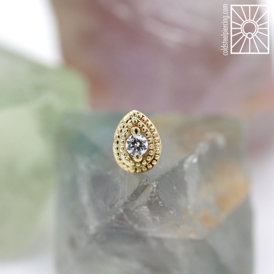"""Solid Yellow Gold and cz """"Pear Milgrain"""" end,so gorgeous! Come get fancyyyyy!"""