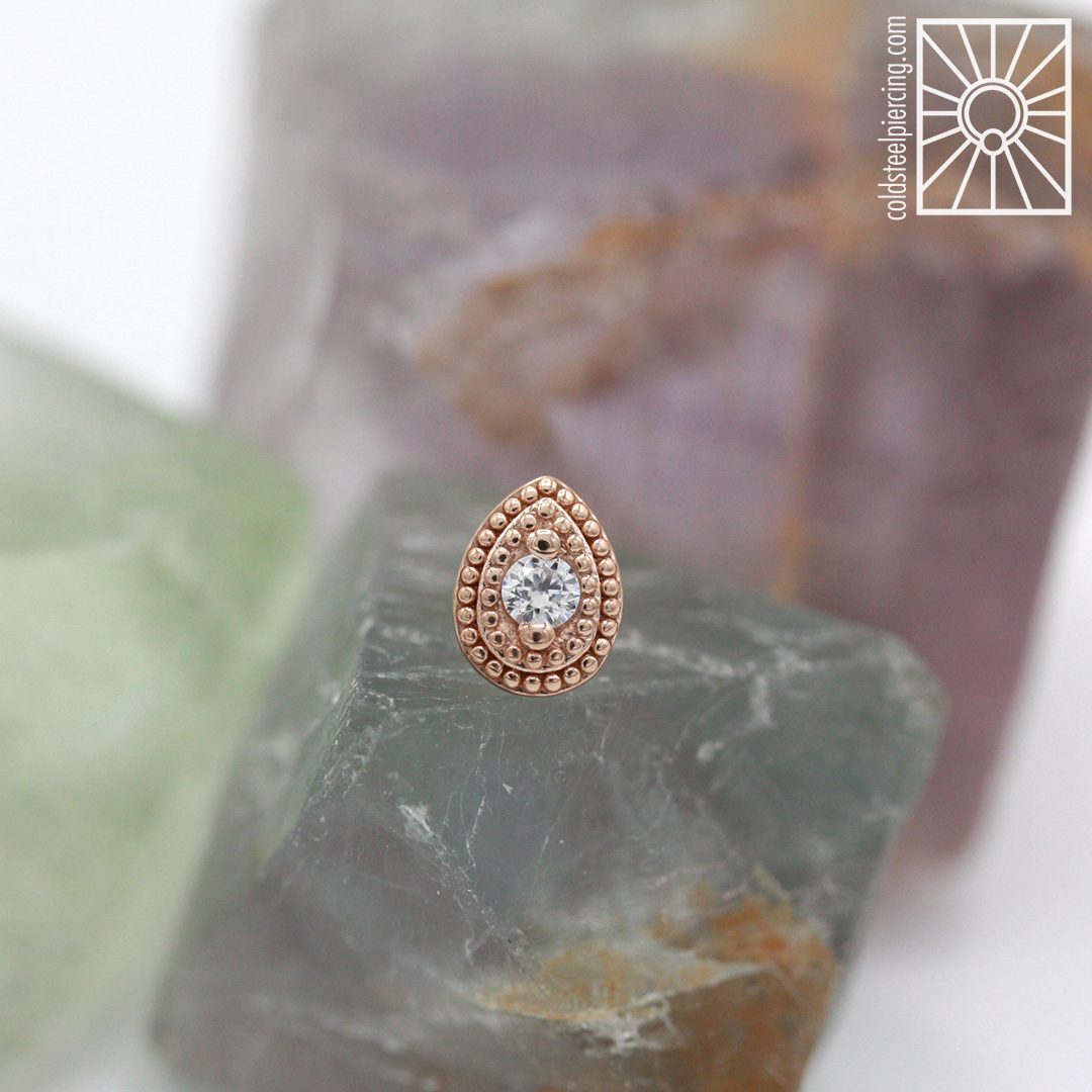 """Solid Rose Gold and cz """"Pear Milgrain"""" end,so gorgeous! Come get fancyyyyy!"""