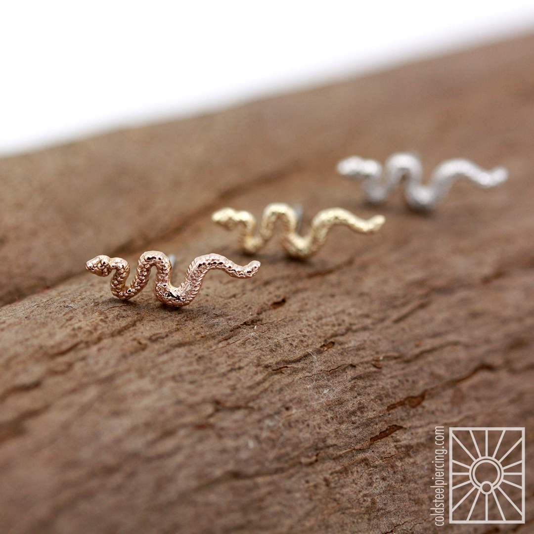 🎶 Snakes are back, back again, Snakey's back, tell a friend 🎶 (sorry not sorry) Solid gold snake ends in yellow, rose, and white gold! These cuties got snapped up quick the last time we had them, be sure to claim one before they slither away!
