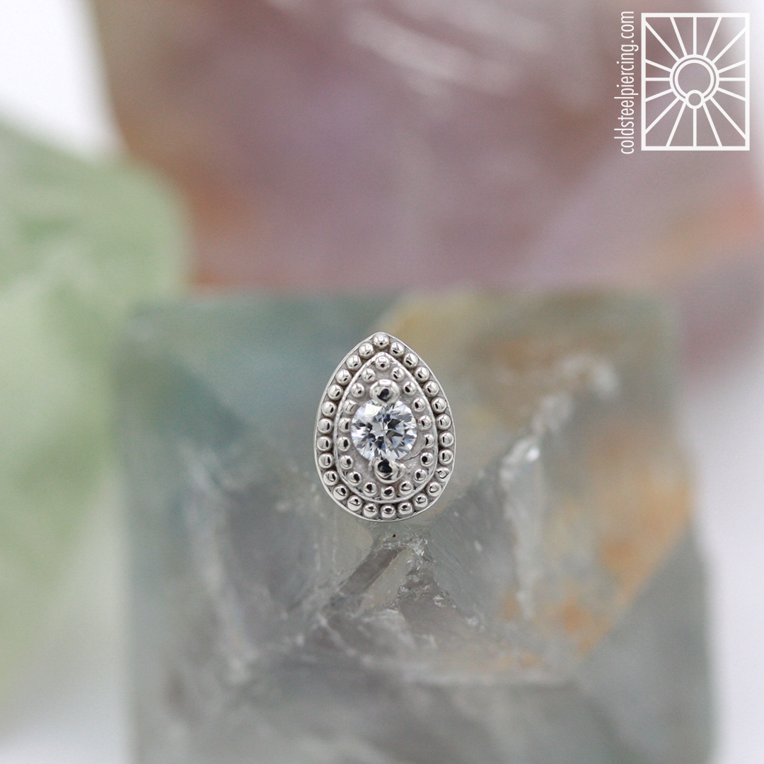 """Solid White Gold and cz """"Pear Milgrain"""" end,so gorgeous! Come get fancyyyyy!"""