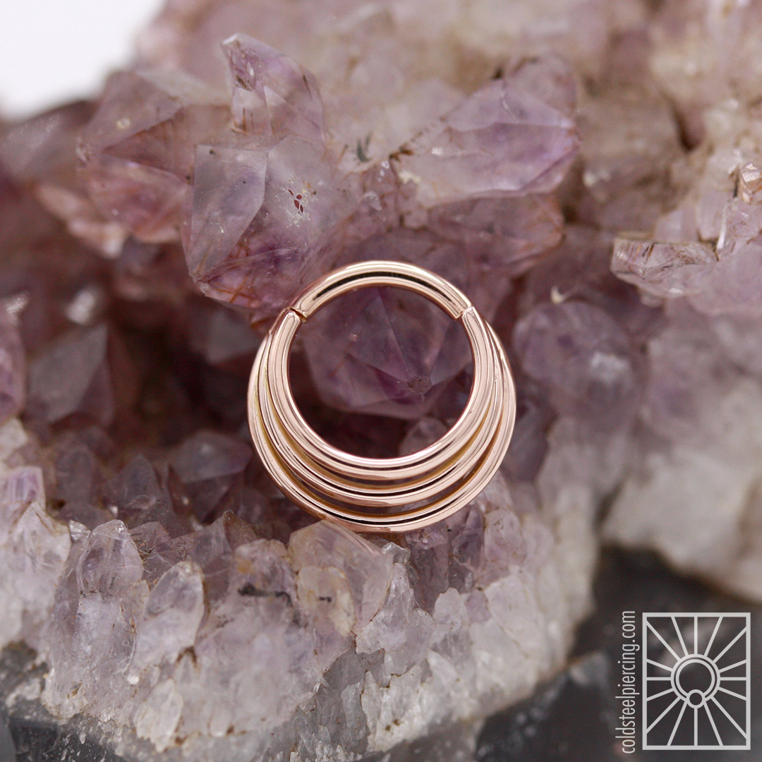 """The """"Minimoody"""" hinged ring in Rose Gold from Body Vision Los Angeles 😍 This is a piece that we get a lot of requests for, and we're sure you can see why! Drop by the studio or email us at coldsteelusa@gmail.com to claim this beauty for yourself!"""