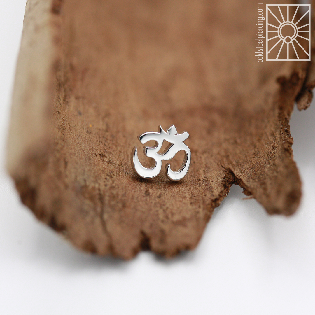 Beautiful White Gold Ohm symbol end we ordered from Body Vision Los Angeles for one of our clients