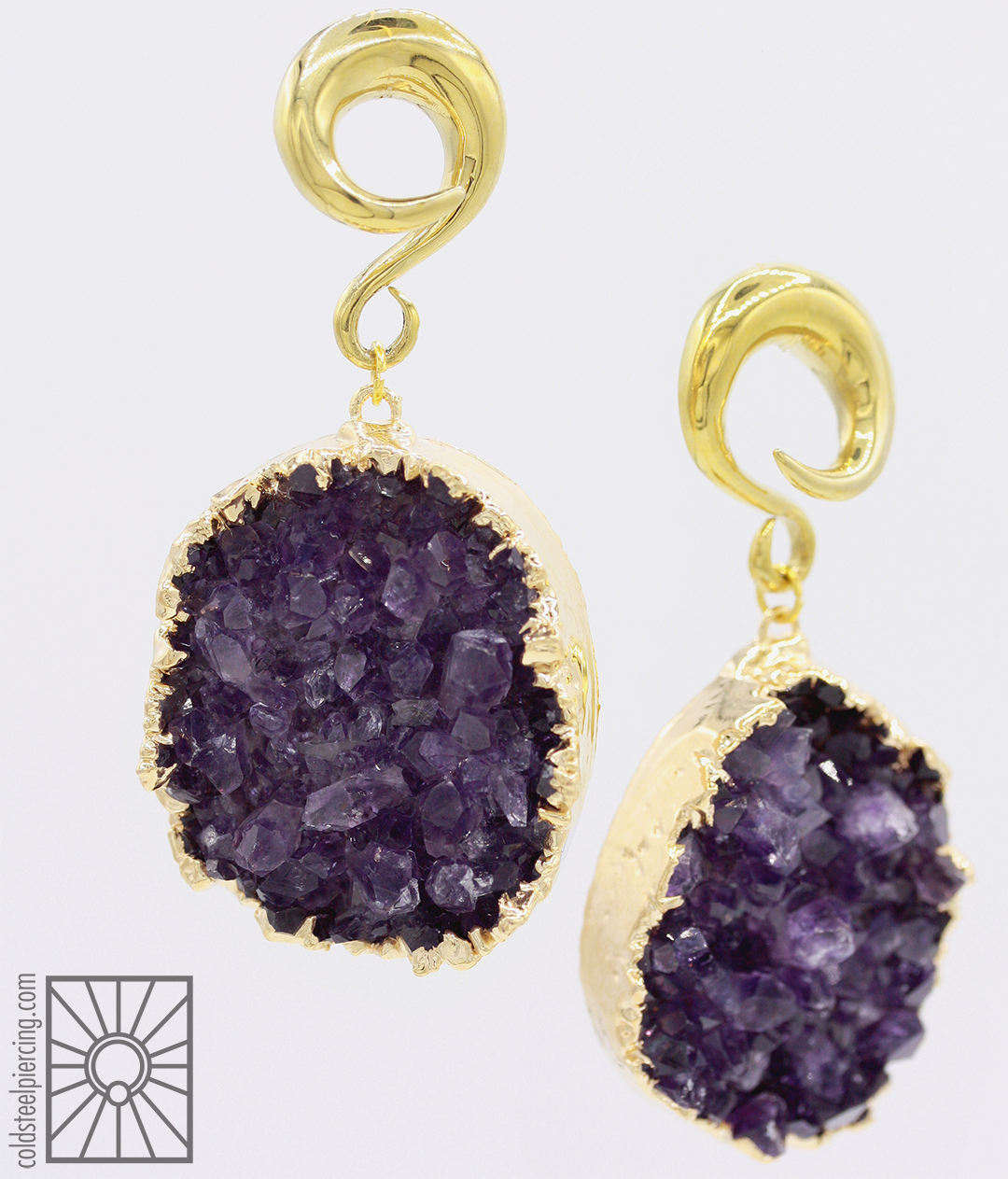 Gorgeous set of gold-dipped Amethyst druzy weights with 2g brass coils we ordered for a customer from those wonderful folks at Diablo Organics ✨ We've got a couple of other sets available in the studio and online store!