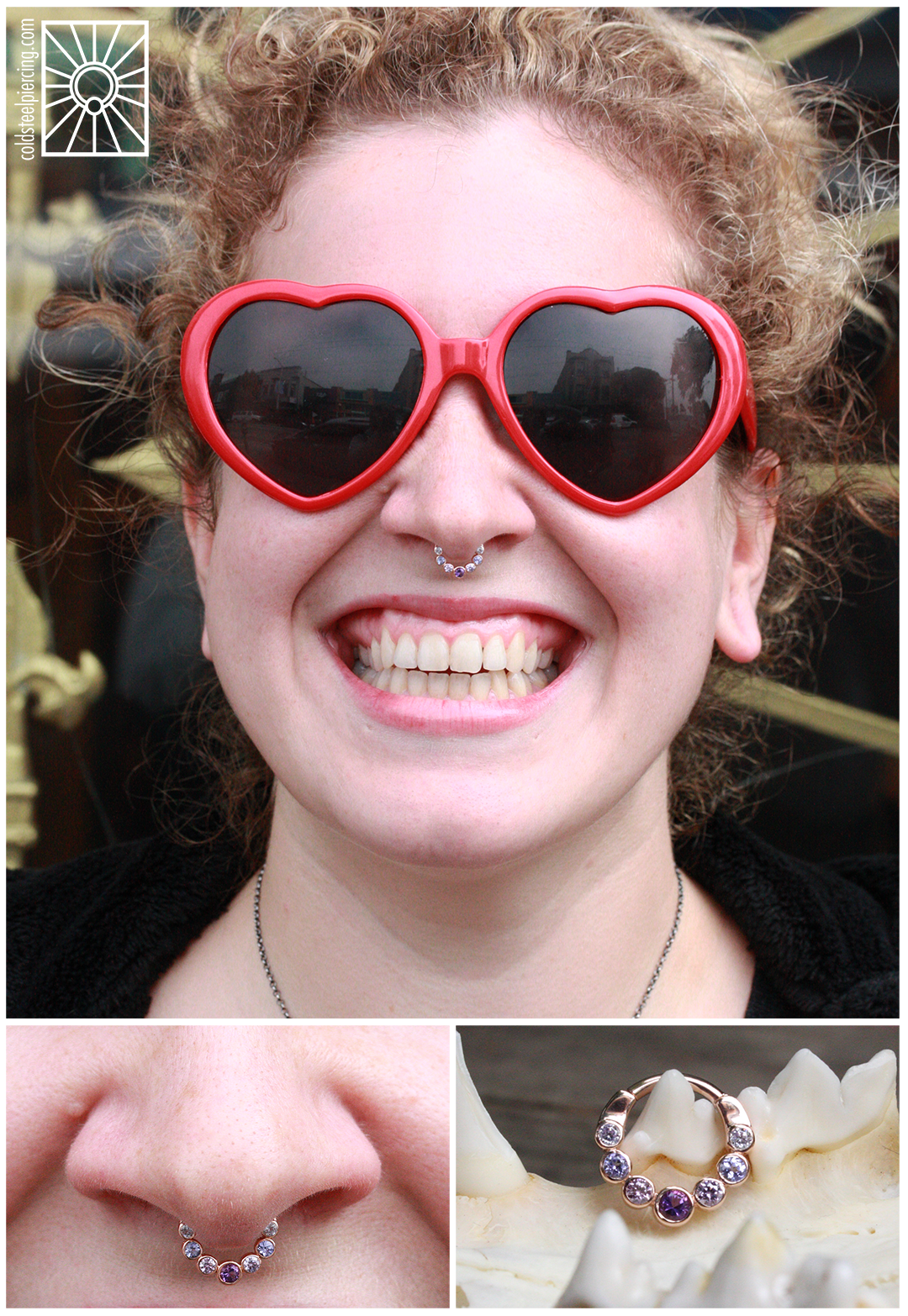 """We did not pierce this lovely lady's septum, but we were definitely happy to help her fancy it up with this drop dead gorgeous Rose Gold """"Lynx"""" hinged ring featuring genuine Amethyst, Tanzanite and Lavender cz's from Body Vision Los Angeles! We love helping make dream jewelry connections!"""