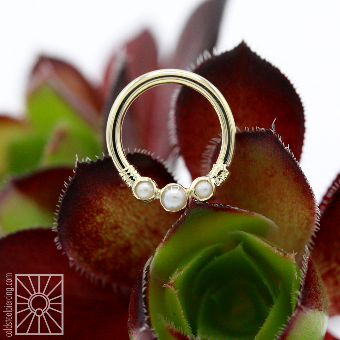 """16g 5/16"""" solid 14k Yellow Gold """"Faraway"""" continuous ring with genuine Pearls from Body Vision Los Angeles."""
