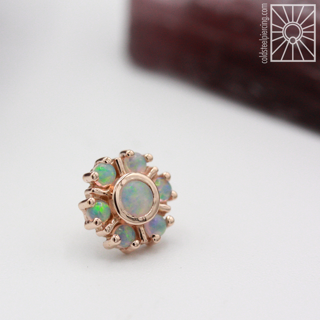 """Solid 14k Rose Gold """"Mini Toltec"""" threadless end featuring all genuine AAA White Opals from Body Vision Los Angeles."""