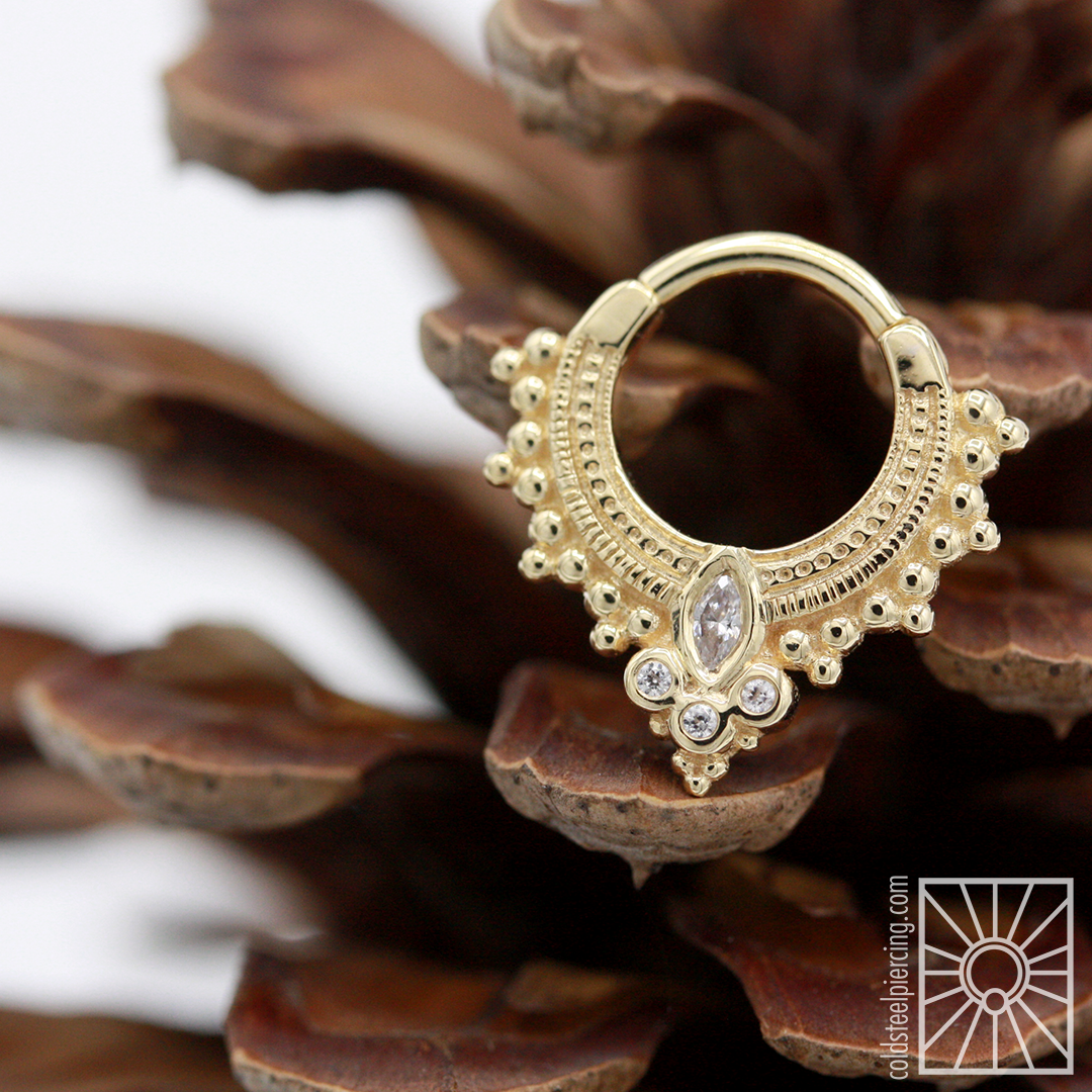 """GORGEOUS solid 14k Yellow Gold """"Andromeda"""" hinged ring from Body Vision Los Angeles, featuring clear cz's."""
