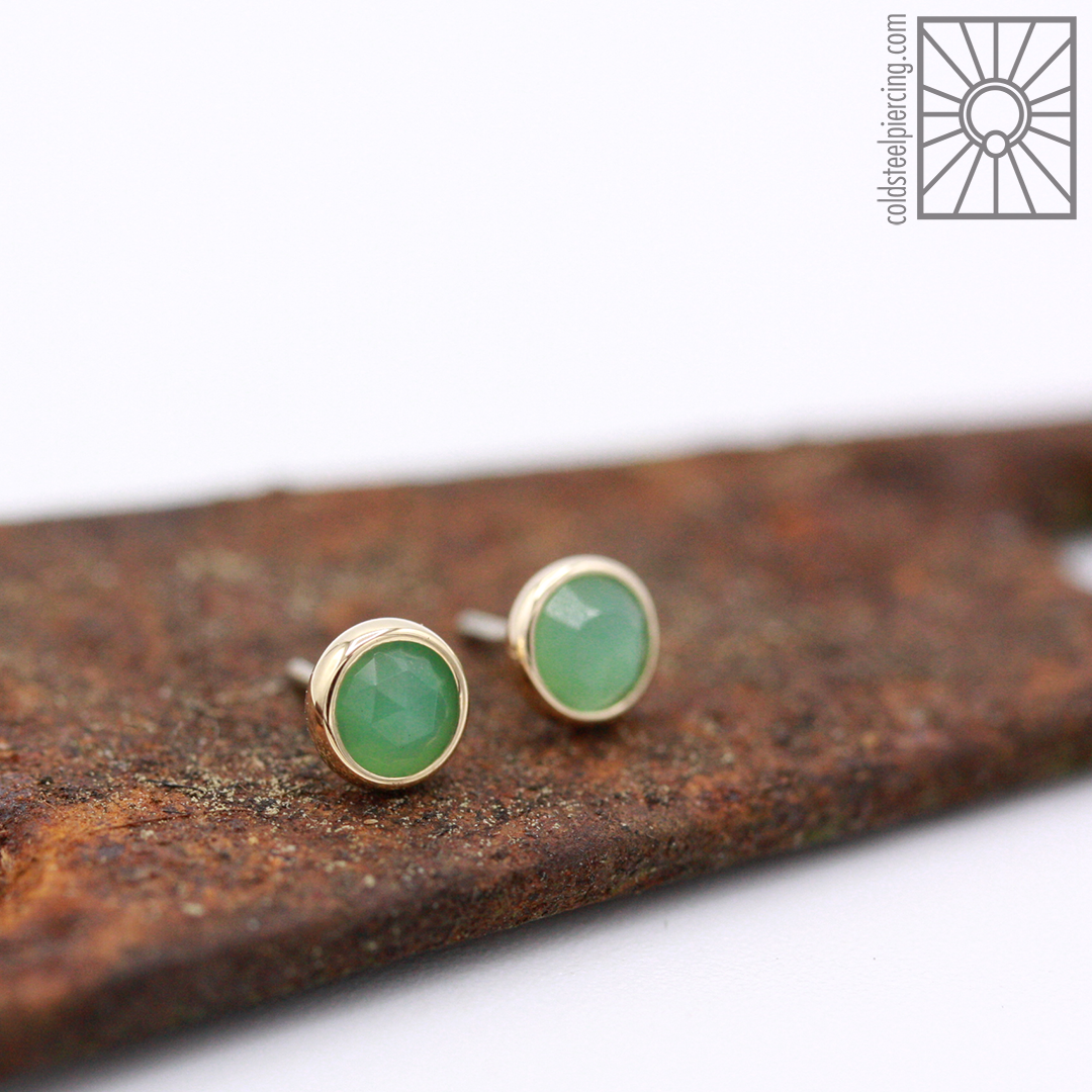 New in from Body Vision Los Angeles this week: fantastic set of rose-cut Chrysoprase ends in solid 14k Yellow Gold. Such a great choice for adding a fun pop of color and subtle sparkle to just about any piercing, come get fancy!