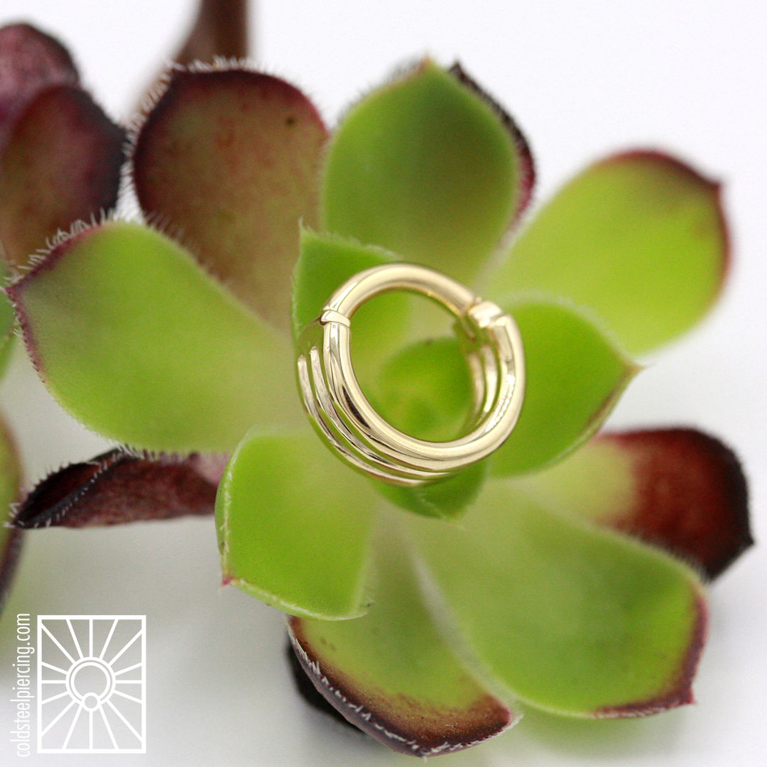 """Fantastic solid Yellow Gold """"Moody Cuff"""" hinged ring from body Vision Los Angeles."""