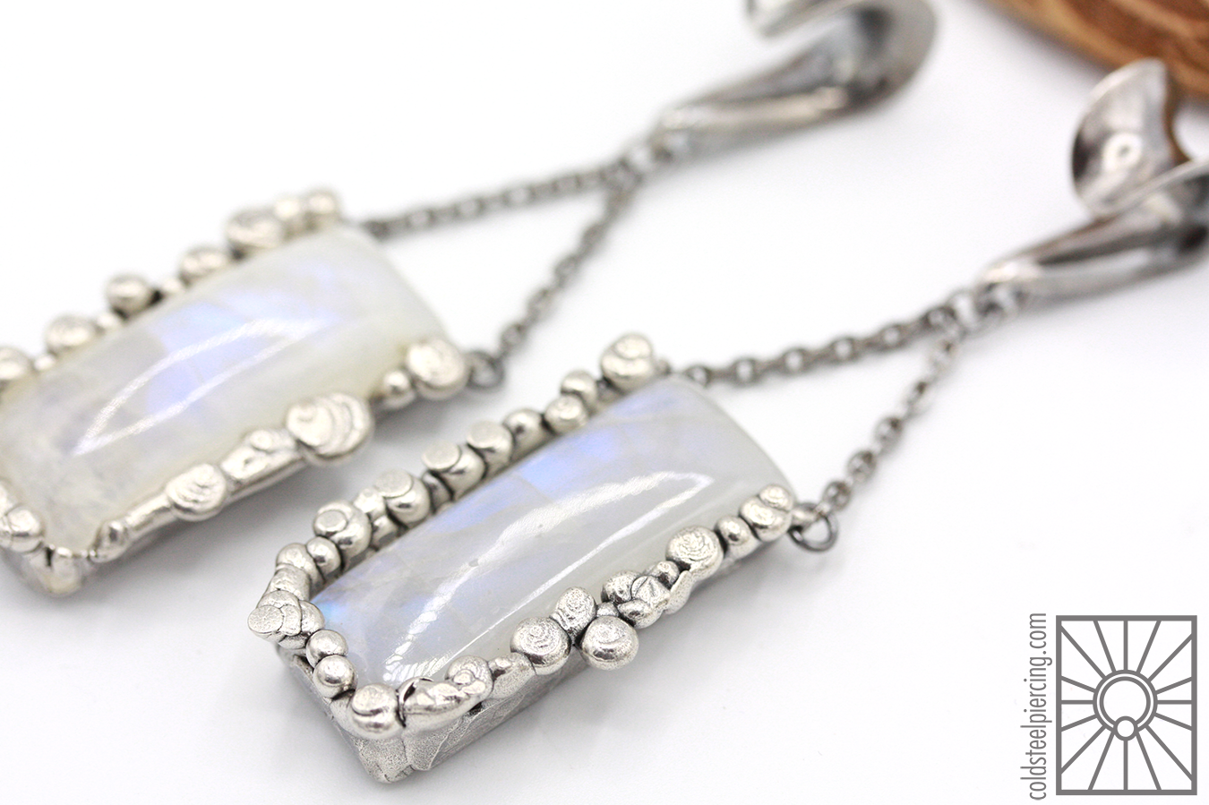 Moonstone 🌜😍🌛 Beautiful glowy silver ear weights from Phoenix Revival Jewelry.Available in the studio and our online store!