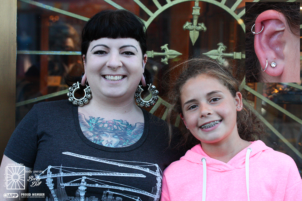This fantastic 13 year old young lady visited us the other day to get her helix pierced, and she was just great! Asked good questions, paid attention to all of the aftercare instructions, and even paid for everything with the money she had earned at her babysitting job. Hooray for awesome, responsible youngsters!
