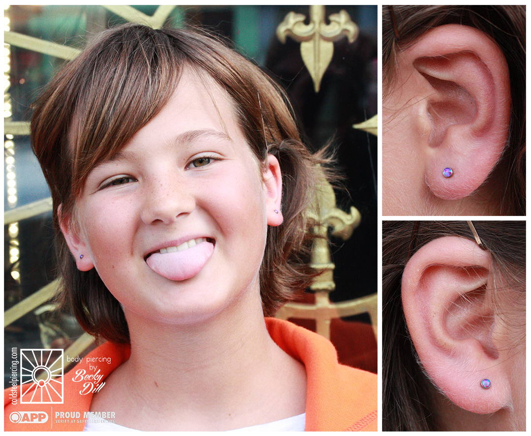 This young lady was so fantastic! Funny, smart, and so excited to finally get her earlobes pierced, and we are so glad she chose to visit us. These cute purple opals from NeoMetal were the perfect choice for her personality!