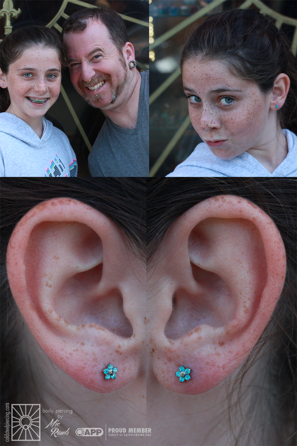 We got to do some earlobe piercings on this sassy young lady the other day, and she was just fantastic. We also love these beautiful flower ends she chose - and they even match her braces! Jewelry from NeoMetal.
