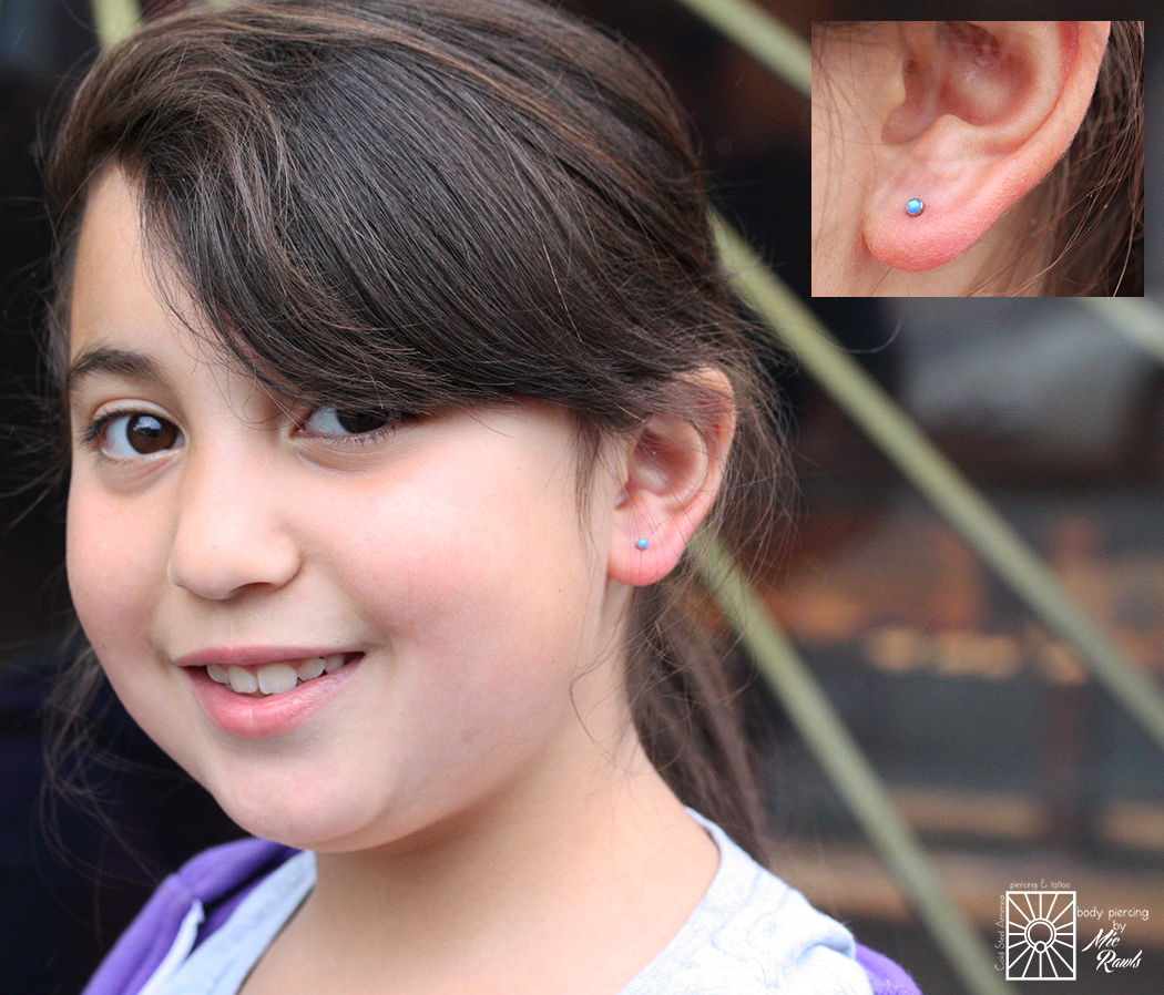 This young lady was so fantastic, and sat like a rock when Mic pierced her earlobes! We also love the 2.5mm synthetic Capri Blue opals from NeoMetal she picked out. Yay for safe, clean, fun earlobe piercings!