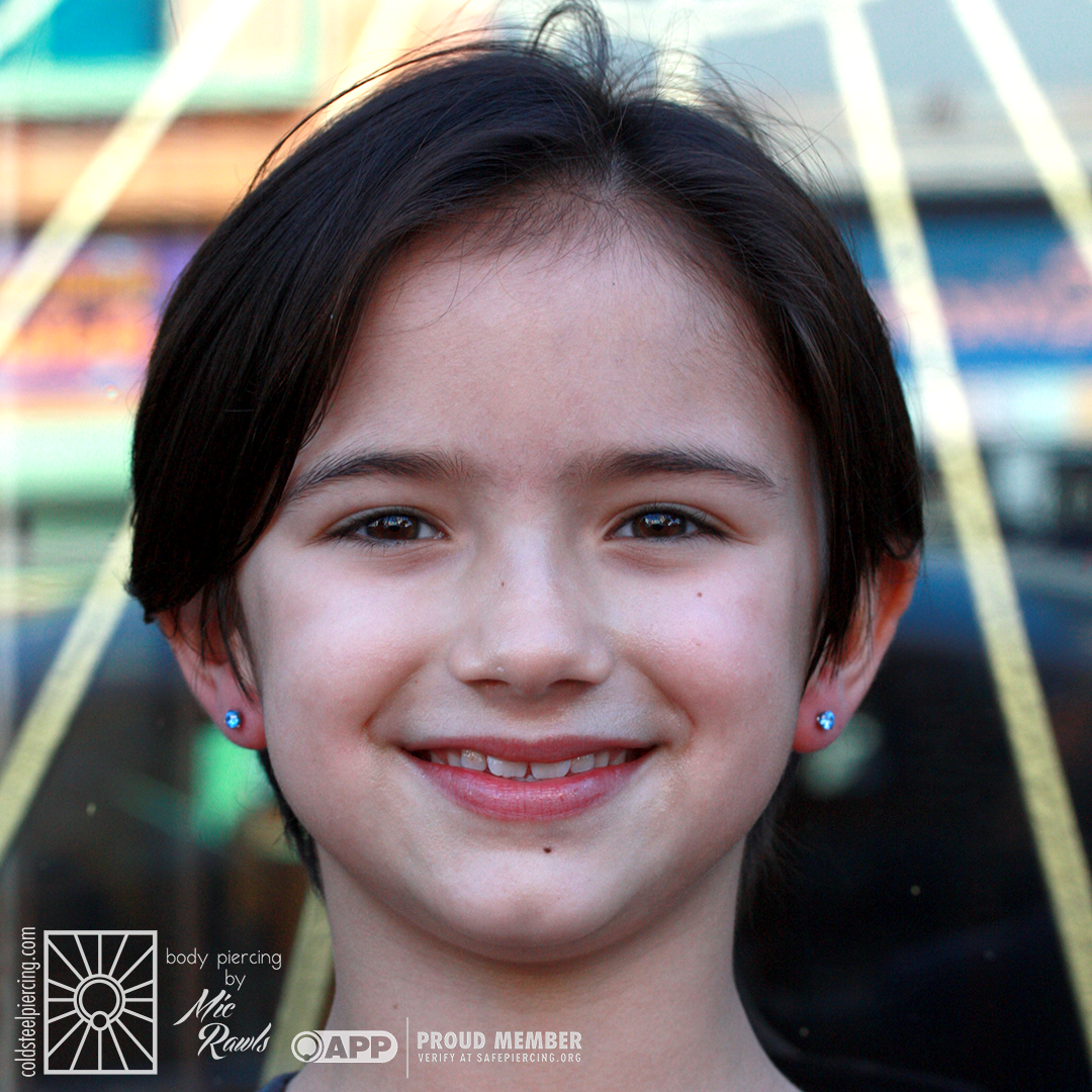 These beautiful Arctic Blue cz's from NeoMetal were the perfect choice for this fantastic young lady's new earlobe piercings!