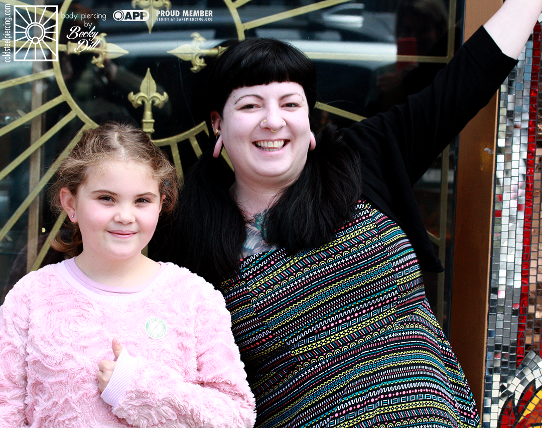 Another fantastic visitor! This young lady was so great, and we were so happy to be her choice for her new earlobe piercings!